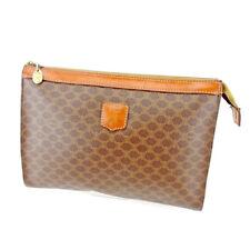Celine Clutch bag Macadam Brown Beige Woman unisex Authentic Used L2039