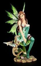 Grüne Elfen Figur - Sitzt auf Blatt mit Drache - Fee Statue Fantasy Fairy Deko