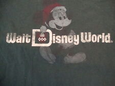 Walt Disney World Mickey Mouse Retro Distressed Christmas Green T Shirt Size S
