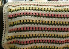New! Handmade Crochet Blanket Throw Afghan - garden tulips