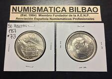 ESPAÑA 50 PESETAS 1957 * 73 @ESTRELLA TRUCADA@ NICKEL FRANCO SC ESTADO ESPAÑOL