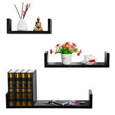 Wall Shelves Floating Wall Mounted Shelf MDF Cube Black URG9239sz