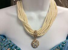 Givenchy Choker Necklace 9 Strand Pearl Necklace & Rhinestones Pendant Fabulous