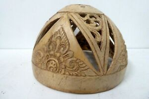 VINTAGE DECORATIVE CARVED PIERCED COCONUT SHELL BOWL - LIGHT SHADE