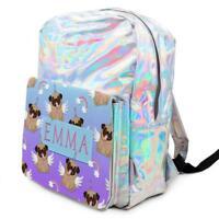 PUG Unicorn Bag Girls Shiny Backpack Silver Holographic School ADD NAME KS144