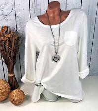 Sheego - Damen Langarm Shirt mit Spitze im Rücken Tunika creme weiß Gr. 44 46