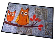 Waschbare Fußmatte Eulen Schmutzfangmatte SALONLOEWE Blau 75 x 120 cm
