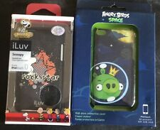 LOT OF 2 iPod Touch 4th Gen Hardshell Cases ( SNOOPY ROCKSTAR & ANGRY BIRD SPACE
