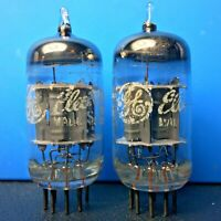 (2) GE 12AX7 / ECC83 matched tube pair, gray plates, O getters, 1968