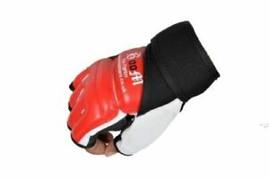BOOM Leather Red Body Combat Gel Gloves MMA Boxing Punch Bag Martial Arts Mitt