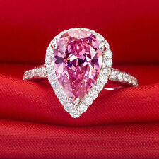 3.10CT HOLO PINK PEAR SHAPE SAPPHIRE WEDDING/ENGAGEMENT 925 STERLING SILVER RING