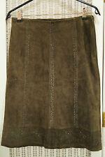 "RENÉ DERHY Suede Pencil Skirt 29""/75cm Waist Leather Eyelet Zig Zag Pinked Trim"