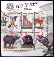 2002 GHANA WILD ANIMALS STAMP SHEET ANTELOPE LEOPARD CHIMP BUFFALO BIRD BUSHBABY