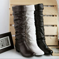 Women PU Leather Knee High Block Low Heel Shoes Round Toe Outdoor Boots 36~40