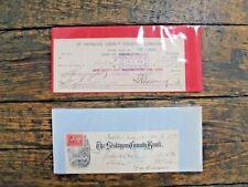 Lot of 2 Antique Vintage Cancelled Bank Checks 1898 1916 Railroad
