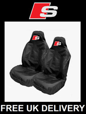 Audi S-Line - Black Sports Car Seat Covers Protectors x2 Recaro / S SPORTS LOGO