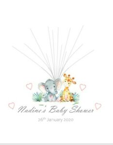 Baby Shower Christening FingerprintTree Guest Book Personalised GIRL with ink