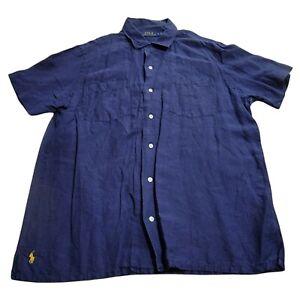 Polo Ralph Lauren Mens Linen Silk Blend Button Up Shirt Blue Large Short Sleeve