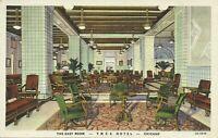 YMCA Hotel East Room Interior South Wabash Chicago Illinois Linen Postcard