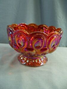 L.E. Smith Red Carnival Glass Moon & Stars Footed Bowl Candy Dish