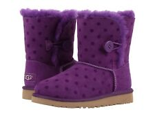 Ugg Australia Bailey Button Polka Dot Purple Girls Boots  Youth size 4 NEW