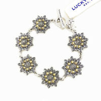 NWT Lucky Brand Two Tone Linked Lotus Flower Pave Stone Toggle Bracelet