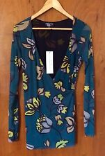 PETIT POIS Blouse S Floral Green, Black Nylon Long Sleeve Shirt V-Neck Sexy Top