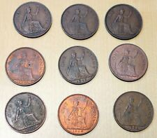 Lot of 9 Different Great Britain 1 Penny Coins 1937-1967 George Vi Elizabeth Ii