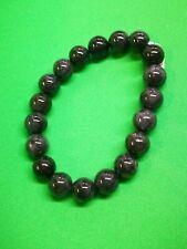 Black Burmese Jadeite Bead Bracelet/缅甸翡翠乌鸡种圆珠翡翠手链