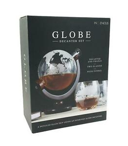 Glass Globe and Ship Decanter Cradle Set with 2 Glass Tumblers