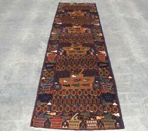 w175 Vintage Handmade Afghan Tribal Wool Baluchi Hallway war Runner