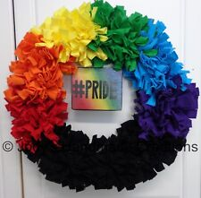 Handmade Rag Wreath / LGBT/ Gay Pride / Rainbow / FREE SHIPPING!