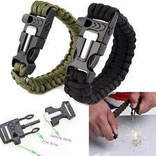 Outdoor Survival Flint Fire Starter Bracelet Paracord Scraper Whistle Gear