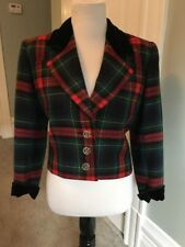 Vintage Yves Sain Laurent Rive Gauche Plaid Velvet Trim Wool Jacket Blazer 34