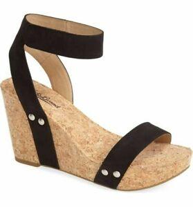 "Women's Lucky Brand Black ""McDowell"" Cork Platform Wedge Heel Sandals  10B"