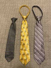 Lot of Boys ties, 2 Silk, 1 Polyester, Pink Yellow Blue