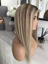 "Balayage Ashy Blonde Lace 16"" Ombre Highlights 100% Virgin Human Long Hair Wig"