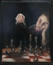 Continental óleo sobre panel retrato de un jugador de ajedrez Vintage Caballero Pintura