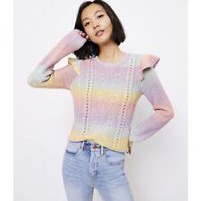 Loft Rainbow Spacedye Ruffle Sleeve Sweater