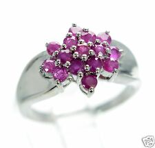 Solid 925 Sterling Silver Genuine Ruby Cluster Ring Size-9 '