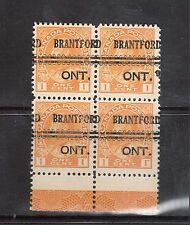 Canada #105f XF/NH Precancel Lathework Block With Full Type D Lathework