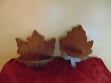Vintage Pair Wood Wall Hanging Maple Leaf Shelf FOLK ART HANDMADE Decor SHELVES