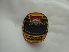 VINTAGE AYRTON SENNA 1990 F1 WORLD CHAMPION HELMET MARLBORO HONDA PIN BADGE CAR