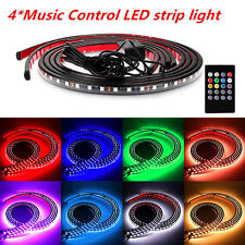 Car Tube Underglow Underbody Music Control Glow System Neon Light Kit + Remote