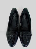 Soleflex Ballerina Shoes Size 8 Black Patent Real Leather Smart Work Comfort
