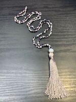Vintage Quality Silver grey Peacock Blue Crystal Charm Tassel Necklace 32 Boho