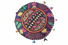 Indian Patchwork Handmade Round Pouf Cover Ottoman Vintage Pouffe Bohemian Throw