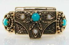 UNUSUAL 9K 9CT GOLD TURQUOISE & PEARL BOX LOCKET POISON RING