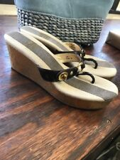 Coach Sandals Fauna Brown Patent Leather Cork Wedge Heels 8M Gold Hardware