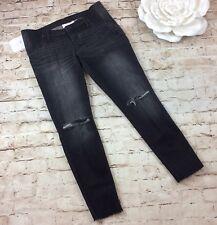Isabel Maternity Jeans 10 Jeggings Black Cut Distressed Side Panel Frayed Hem